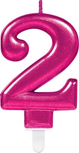 Carpeta Zahlenkerze * Zahl 2 * in PINK mit Steckfuß | ca. 10cm x 6cm groß | Deko 2. Geburtstag Geburtstagskerze Kerze