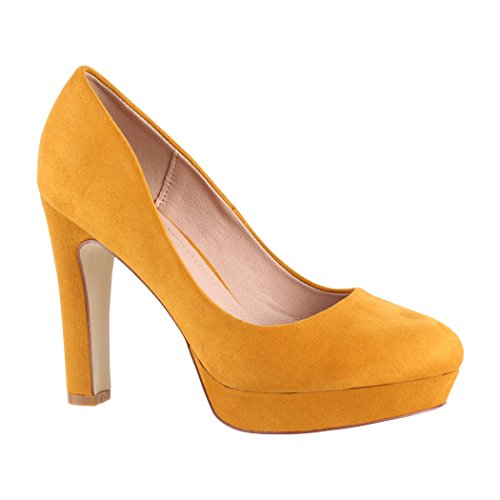 Elara Damen Pumps High Heels Vintage Abendschuh Chunkyrayan 7262-GL Yellow-41