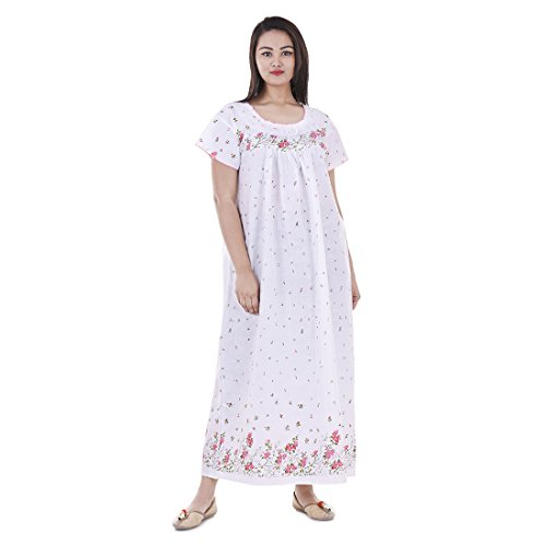 Women Cotton Floral Printed Night Wear Gown Sexy Nighties Nighty Sleepwear Indian Dress Long Skirt Maxi Bath Robe Nightdress White