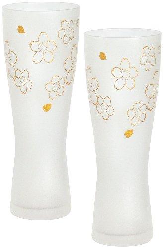 アデリア ビールグラス ゴールド 415ml プレミアムニッポンテイスト桜 ビアグラス(泡づくり機能付) ペアギフト 日本製 S6007