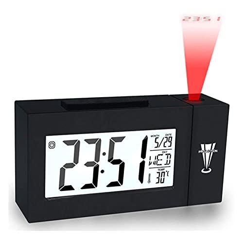 STBAAS Reloj Despertador, Termómetro de proyección Electrónico Luminoso Fecha de Control de Sonido Relojes de Control de Sonido para Adolescentes Oficina de Cocina para niños (Color : Black)