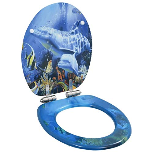 vidaXL Toilettensitz mit Soft Close Deckel Absenkautomatik Delphine-Design WC Sitz Brille Toilettendeckel Klodeckel Klobrille Toilettenbrille MDF