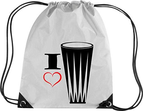 Camiseta stown Premium gymsac Música I Love gonga–Tambor de mano, plata