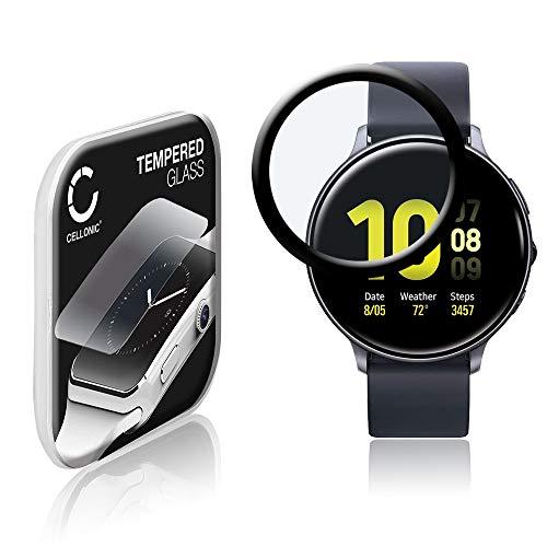 CELLONIC Displayschutzglas kompatibel mit Samsung Galaxy Watch Active 2 (44mm) (3D Full Cover 9H 0.33mm Full Glue) Glas schwarz Displayschutz Schutzglas Tempered Glass