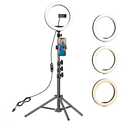 10.2 inch Selfie Ring Light with Tripod Stand & 2 Phone Holders,Anbes Dimmable Led Camera Ringlight for Photography/Makeup/Live Stream Video/YouTube,Compatible with iPhone/Android by ANBES