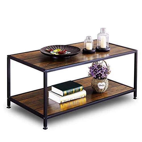 GreenForest Coffee Table Industrial for Living Room Metal Frame Open Shelf Storage, Walnut