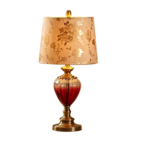 AOYANQI-Lámparas de escritorio Copa de vino rojo lámpara de mesa, impresión de Rose Sombra Iluminación de interior Protección de los ojos E27 Aprende lectura del botón de control de luz 33 * 33 * 67cm