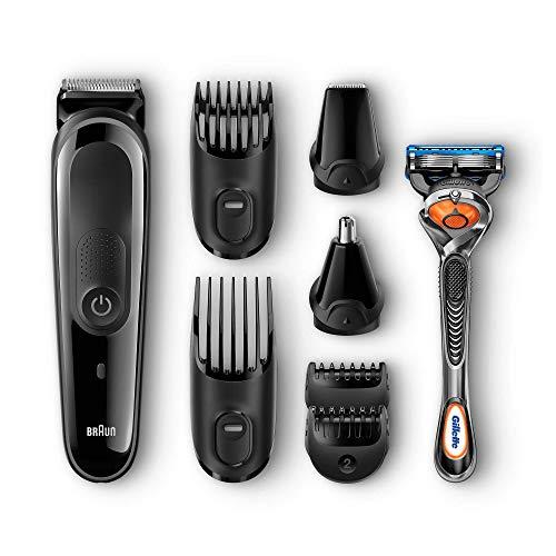 Braun MGK3060Corta Barbas Hombre8En1Recortadora Barba y Cortapelos para Nariz y Orejas, Pequeños Detalles, Cuchillas de Larga Duración, Maquinilla Gillette Fusion5 ProGlide con Tecnología FlexBall