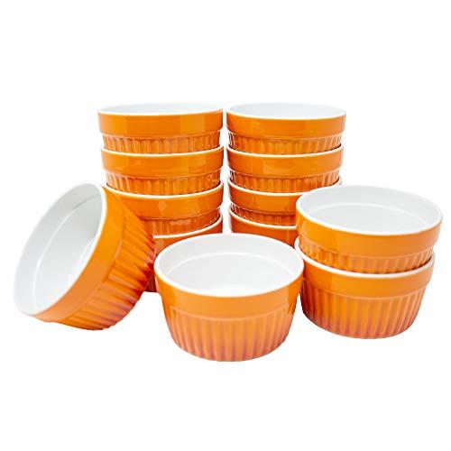 ToCi Ofenschalen Set Keramik 185ml Dessertschalen Orange für Creme Brulee Ragout Fin Tapas Überbacken Mikrowellen- Ofen- und Gefrierschrankfest (12er-Set Orange)