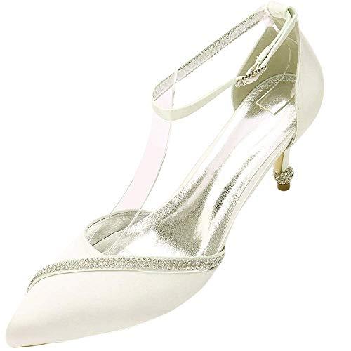 Zapatos para mujer con diamantes de imitación D-Orsay Tacones puntiagudos, color Plateado, talla 39.5 EU