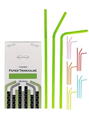 EventHeart - 150 Stück Flexible Papier Trinkhalme einfarbig, 24cm lang, biologisch abbaubar (grün)