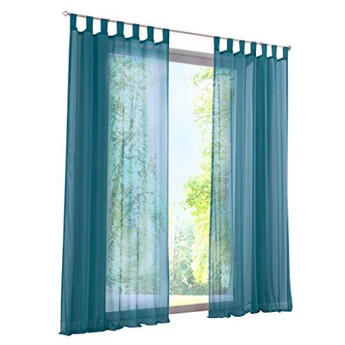 ESLIR Gardinen mit Schlaufen Vorhänge Fensterschal Transparent Schlaufenschal Voile Blau BxH 140x225cm 1 Stück