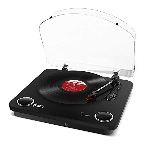 ION Audio Max LP – Three Speed Vinyl Conversion Turntable with Stereo Speakers, USB Output to Convert Vinyl Records to Digital Files and Standard RCA & Headphone Outputs – Glossy Black