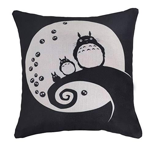 Elviros Lino y Algodón Blend Decorativo Funda de Cojínes 45x45 cm [18x18'' Pulgadas]-Totoro a la Luna