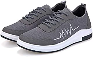 2019 Arrivals Men Shoes Hot Sale Stylish Men Casual Shoes and Sneakers New Summer Men's Vulcanized Shoes Men Breathable Shoes Male For Solid Flat Lace-up Vulcanized Shoe Grey SH08/GR
