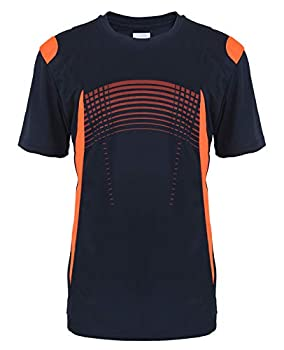 LeeHanTon Quick Dry Shirts for Men Summer Casual Loose Fit Cooling Sports Athletic T-Shirts Navy Medium