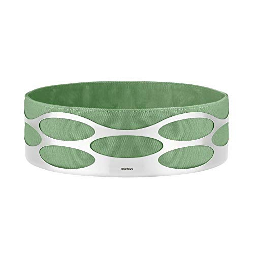 Stelton Bread Basket Cotton Bag and Stainless Steel, Green, Embrace Basket