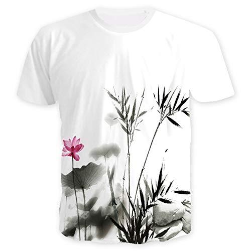 XIAOBAOZITXU 3D Digitaldruck T-Shirt Kurze Ärmel Rundhalsausschnitt Chinesischer Bambus Sommerkleidung Für Männer Und Frauen Lose Mode Großes T-Shirt XL