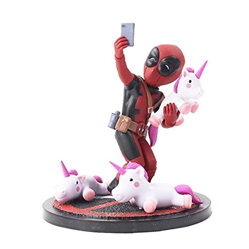 LAANYMEI Adornos para el salpicadero del Coche 13cm Deadpool Unicornio Selfie Marvel PVC Figura de acción Modelo Muñecas Juguetes (Color : 13cm OPP Bag)