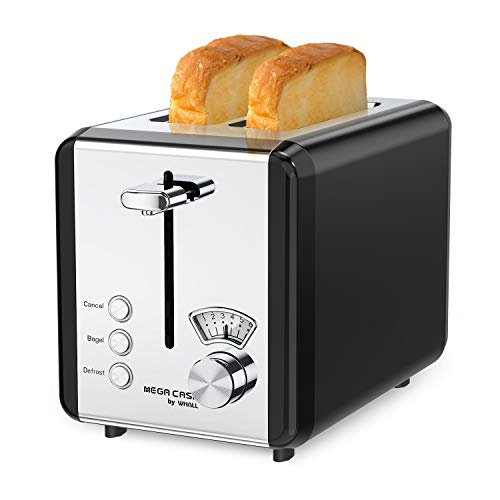Toasters 2 Slice Best Rated Prime, whall Stainless Steel,Bagel Toaster - 6 Bread Shade Settings,Bagel/Defrost/Cancel Function,1.5in Wide Slots,Removable Crumb Tray,for Various Bread Types (850W) (Black)
