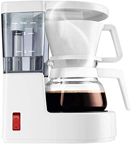 KaiKai Filtro de café de la máquina, Mini 0.35L Cafetera de Goteo Cafetera Goteo Vidrio térmico Filtro de garrafa Permanente 500W, Negro (Color : White)