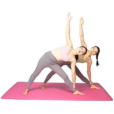 YUREN Double Yoga Mat 130 200cm Extra Wide Thick Foam Mat 1/2 inch Oversized Exercise Mat for Home Gym Non Slip Pilates Mats XL