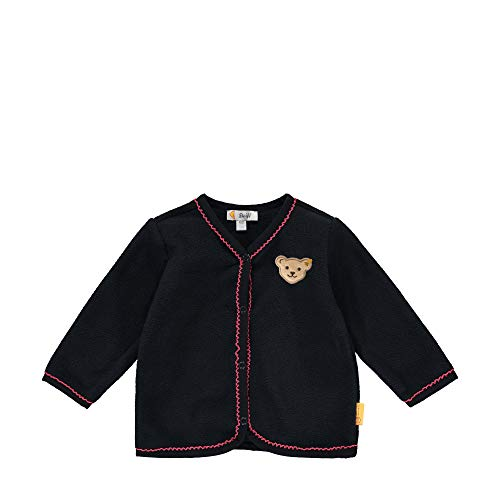 Steiff Baby-Mädchen mit süßer Teddybärapplikation Fleecejacke, Navy, 074