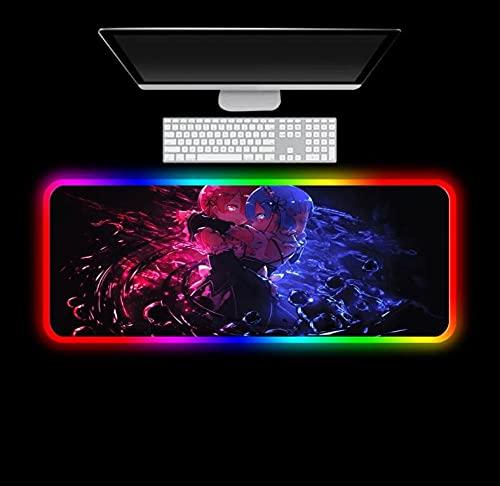 Alfombrilla de ratón de Ordenador para Juegos Re Zero Alfombrilla de ratón de Anime RGB para Jugador XXL Alfombrilla de Escritorio LED para Ordenador con retroiluminación 400X800X4Mm