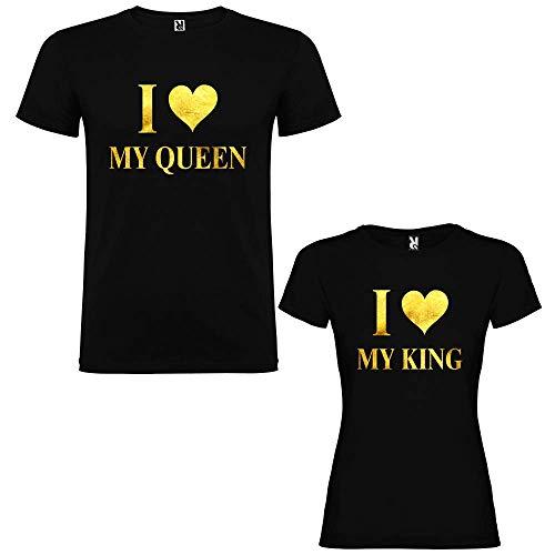 Pack de 2 Camisetas Negras para Parejas, I Love My King y I Love My Qu