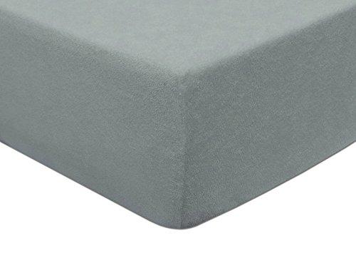 MODHAUS Spannbetttuch Spannbettlaken Frottee 80x160 Gummizug bis zu 5 cm Matratzenhöhe Farbauswahl (Aschgrau)