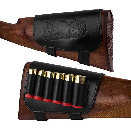 BronzeDog Genuine Leather Buttstock Ammo Holder Shotshell Carrier Hunting Ammo Pouch Shotgun Shell Cover 12 (16) Gauge Right Handed Black Brown (Black)