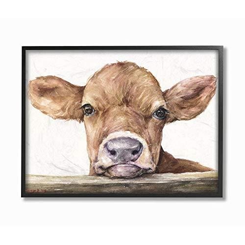 Stupell Industries Cute Baby Cow Animal Watercolor Painting Black Framed Wall Art, 24 x 30, Multi-Color