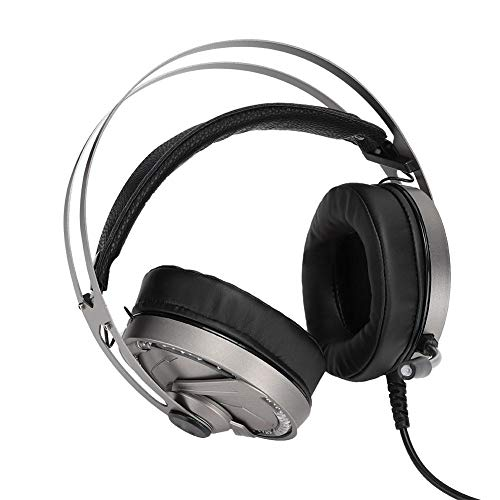Music Game Headset, met instelbare geluidsregeling, met mute-functie, ingebouwd koel LED-licht en flexibele PU-oorkussens, aanpasbare op het hoofd gemonteerde graden, met microfoon