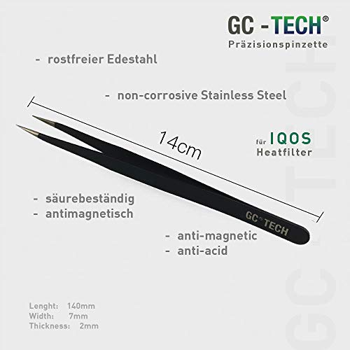GC Tech® Original Präzisionspinzette für Oel-Absorptionskissen für IQOS Holder 3 Duo 2.4 Plus + 2.0 für sauberen Genuss und Schutz der Elektronik