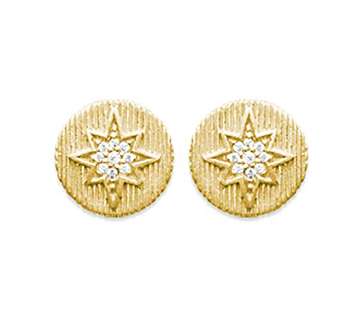 18K Gold Plated Round Ribbed Stud Earrings with Cubic Zirconia Star - Free Velvet Bag
