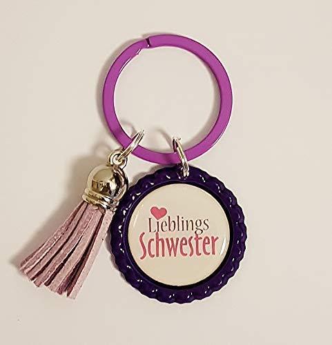 Schlüsselanhänger Kronkorken –Lieblingsschwester & Quaste/Tassel – verschiedene Farben - Individualisierbar - Handmade
