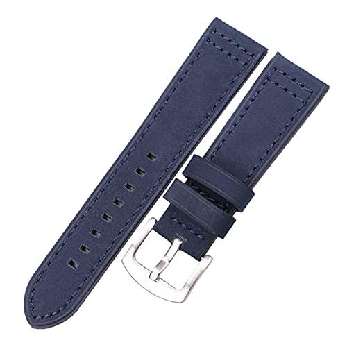 ZRNG Cuero de la Piel de Vaquera 18 20 22 24mm Mujeres Hombres liberación rápida Fit para Samsung Gear S3 Cuero Genuino Vintage Watch Band Strap (Band Color : Blue Silver Buckle, Band Width : 24mm)