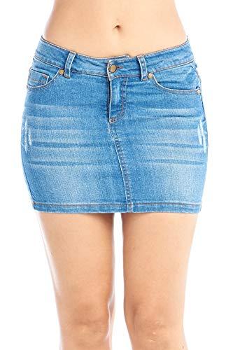 Khanomak Women's Basic Jeans Denim Mini 5 Pocket Skirt Juniors - Dark Blue, Size Large