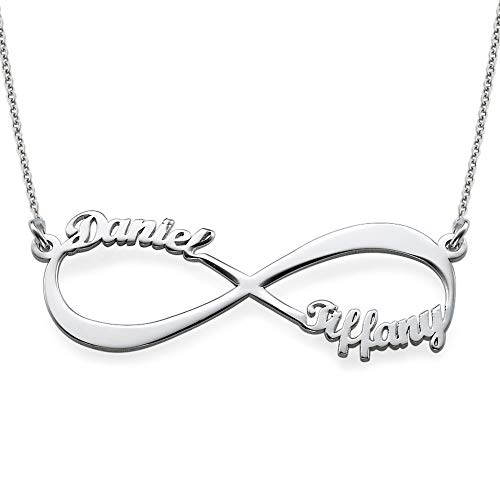 MyNameNecklace Personalized Infinity Couples Name Necklace - Eternal Love Jewelry with 2 Names (Sterling Silver)