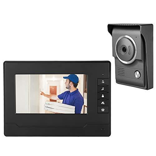 Timbre con videoportero,con Pantalla TFT/LCD HD de 7 Pulgadas,intercomunicador Manos Libres,visión Nocturna por Infrarrojos,desbloqueo controlado electrónicamente(EU Plug)