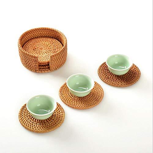 AGGIEYOU Getränk Untersetzer Set Für Kung Fu Tee Zubehör Runde Geschirr Tischset Teller Matte Rattan Weave Cup Mat pad, Grün
