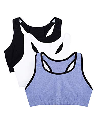 Fruit of the Loom - Brasier Deportivo para Mujer (3 Unidades), Blue Gem with Black/White/Black Hue, 50