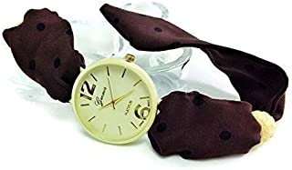 Brown ladies dress watch Ivory natural face fabric strap band wristwatch 30th birthday gift