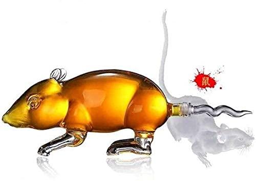 Decantador De Vino Decantador Estilo De Ratón De Licor De Vino - para Whisky Bourbon Tequila Vodka Vino Scotch Animal Decantador De Cristal De Borosilicato Alto 1000Ml Fd