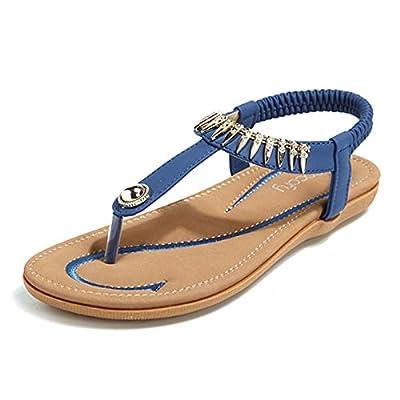 Socofy Bohemian Sandals,Women's Metal Elastic Flat Sandals Summer Bohemia Style Clip Toe Flip Flops Shoes Blue 10 B(M) US