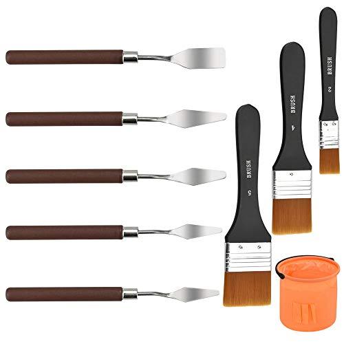 EMAGEREN 5 Stück Malmesser Set mit Holzgriff Spachtel Edelstahl Palette Messer Set, 3 Stück Malerpinsel Nylon Pinsel mit verschiedenen Größe für Künstler Kinder Anfänger Aquarell Acryl Ölmalerei