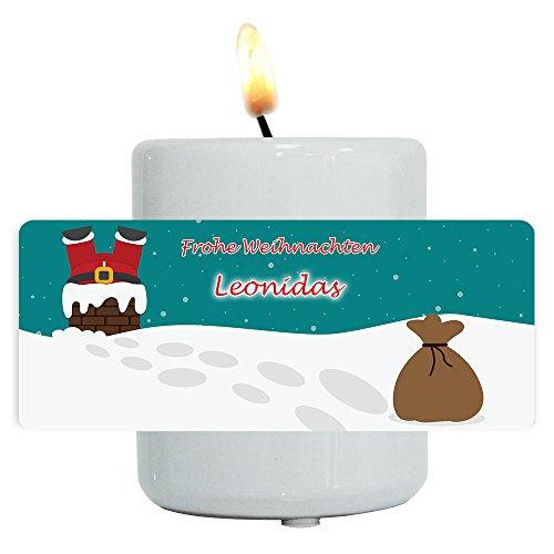 Teelichthalter mit Namen Leonidas und lustigem Motiv mit Weihnachtsmann im Schornstein