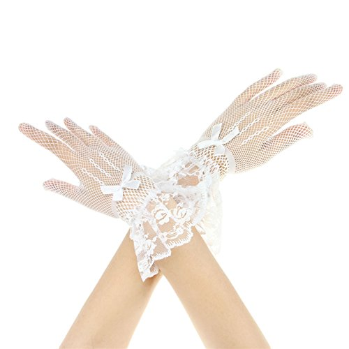 Women Girls Short Wrist Sexy Wedding Bridal Lace Gloves Floral Bow White Black Lace Gloves Mittens for Banquet Fancy Party Costume, White, One Size Fits Most