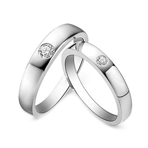 Daesar Platinum Ring Women and Men Unique Couples Rings Simple Round Anniversary Ring Diamond White Gold Ring Women Size R 1/2 & Men Size V 1/2
