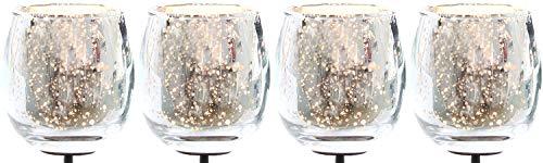Novaliv 4X Teelichthalter zum Stecken Silber Teelichtgläser Kerzenhalter Kerzenpicks für Adventskranz Glas Weihnachten 6cm
